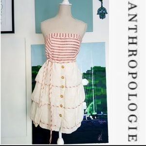 ANTHROPOLOGIE MAEVE RED AND WHITE WITH FLAIR DRESS